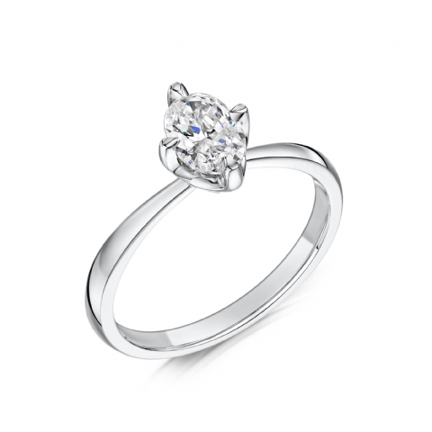 0.5 Carat GIA GVS Diamond solitaire 18ct White Gold. Oval diamond Engagement Ring, MWSS-1177/050